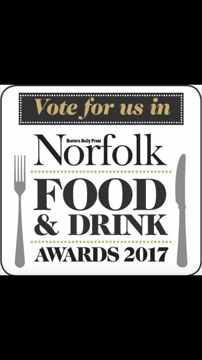 Last chance to give us a vote in this years EDP Norfolk food + drink awards! If you like us give us a vote ! Thanks