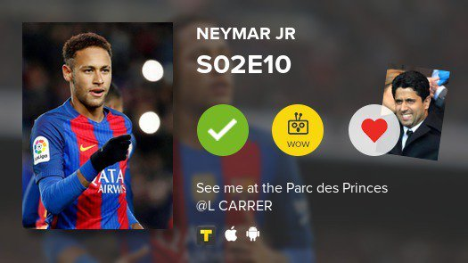 """I've just watched episode S02E10 of """"Neymar : The transfer of the century"""" #neymar #tvtime https://t.co/81q7qLqe2I"""