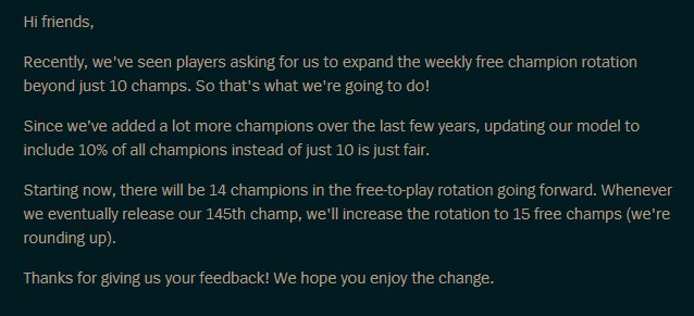 Moobeat On Twitter Expanding The Weekly Free Champion Rotation Https T Co Hzpjsjqgfp