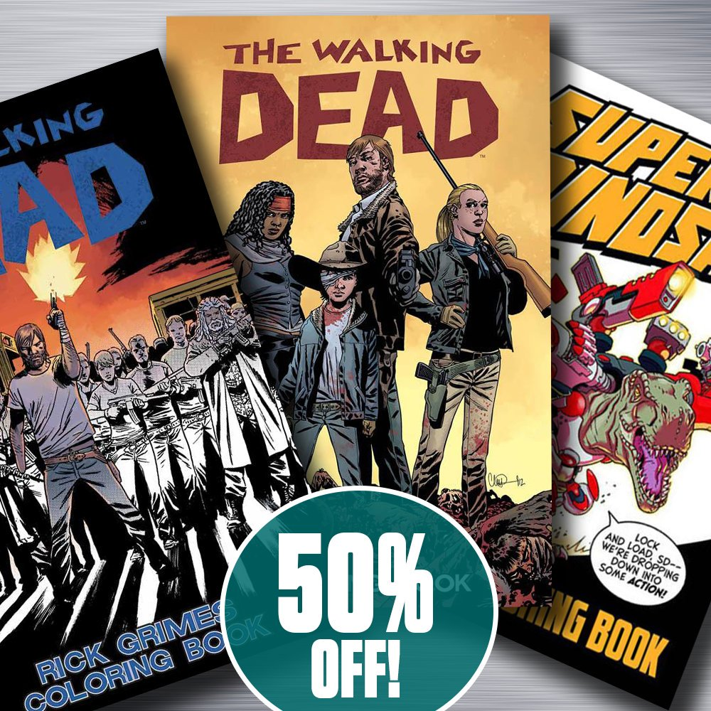 It's #NationalColoringBookDay & we're giving you 50% OFF #WalkingDead & #SuperDinosaur coloring books! Get them now:  http:// bit.ly/ColoringSale    <br>http://pic.twitter.com/Se2TGJJSlQ