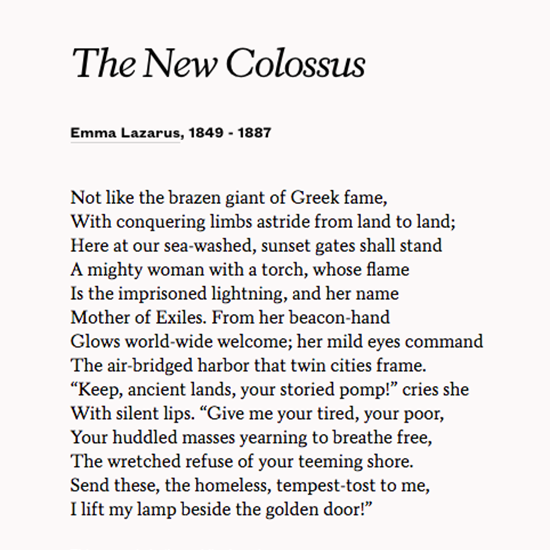 "Emma Lazarus's ""The New Colossus,"" forever a beacon of hope. https://t.co/MHOY9TrBkq https://t.co/4joI8H4wXH"