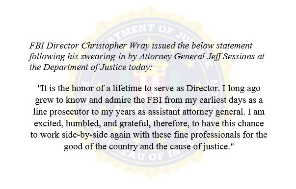 Statement by FBI Director Christopher Wray: https://t.co/gTK9Mo0VxV