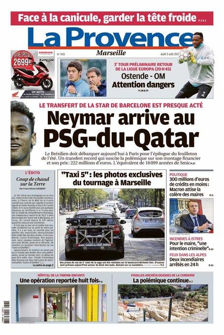 La Provence dénonce le transfert de Neymar au PSG !
