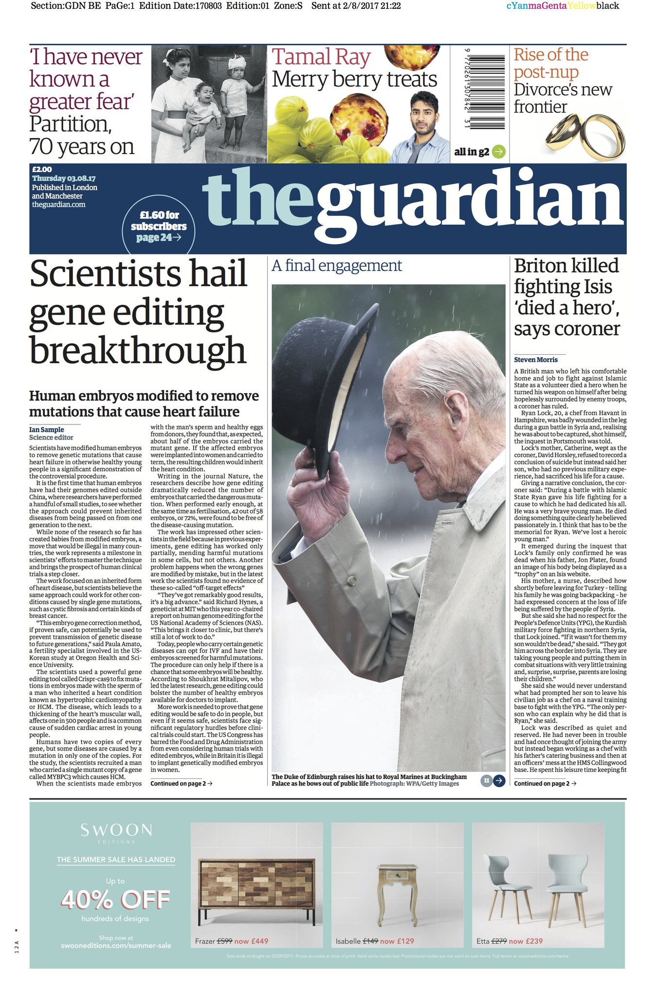 The Guardian front page, Thursday 03.08.17: Scientists hail gene editing breakthrough https://t.co/rEYDUCrju2