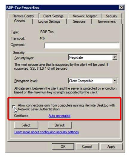 Network Level Authentication Rdp