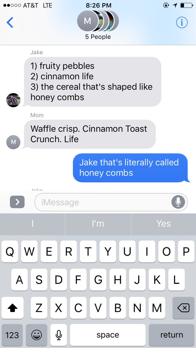 When your family is doing a power ranking of cereal and @JGolic88 says this.