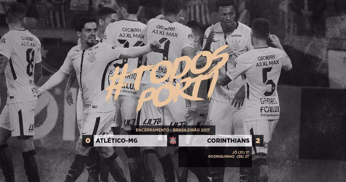 #TodosPorTi  Mais uma vitória do grupo! Mesmo com desfalques, #Timão vence Atlético-MG fora de casa e segue líder invicto do Brasileirão!