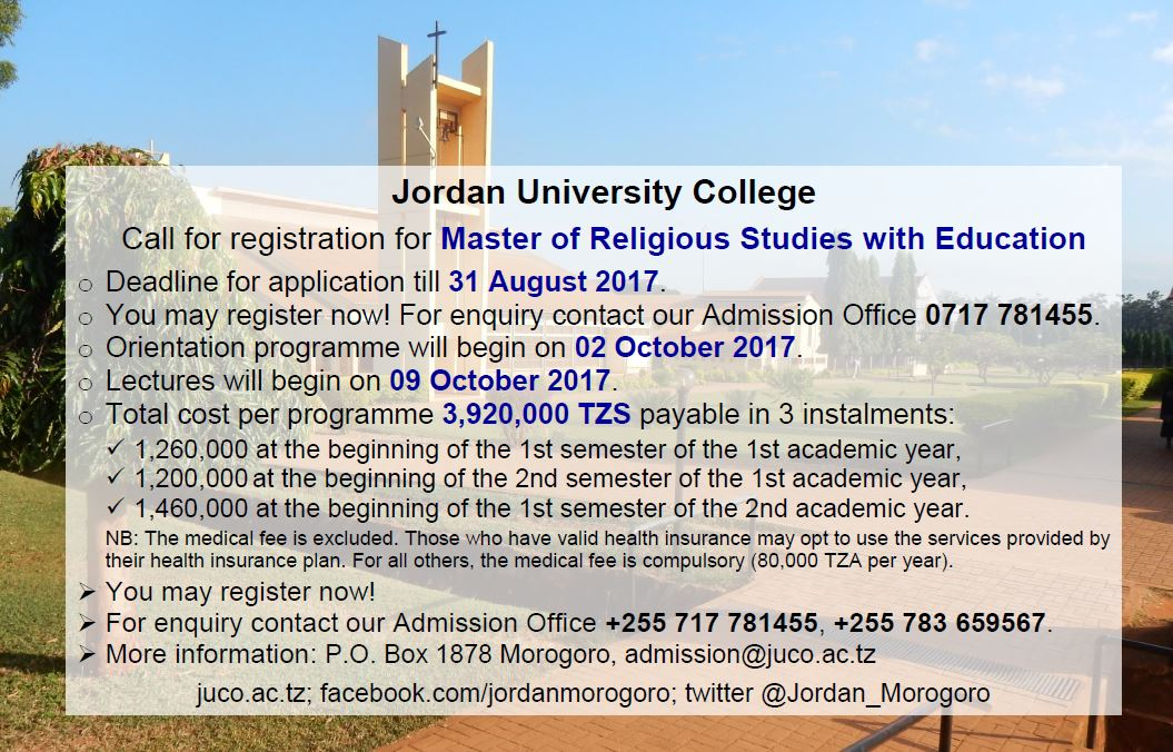 Master of Religious Studies with Education #JUCO #Morogoro #Tanzania #tz #GainWithXtianDela #education #masters #reliigousstudies #Twitter<br>http://pic.twitter.com/AQCrNVR0z6