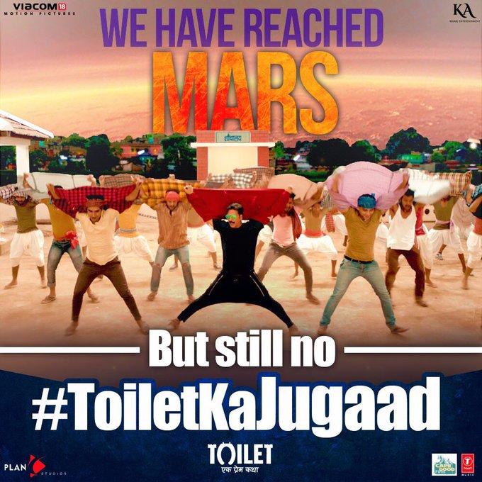 Hum Mars tak pahunch gaye hai, lekin Toilet tak ka safar nahi karna chahte, kyun? #ToiletKaJugaad song out tomorrow between 10 and 10.30 am https://t.co/gMSaCFPAoT