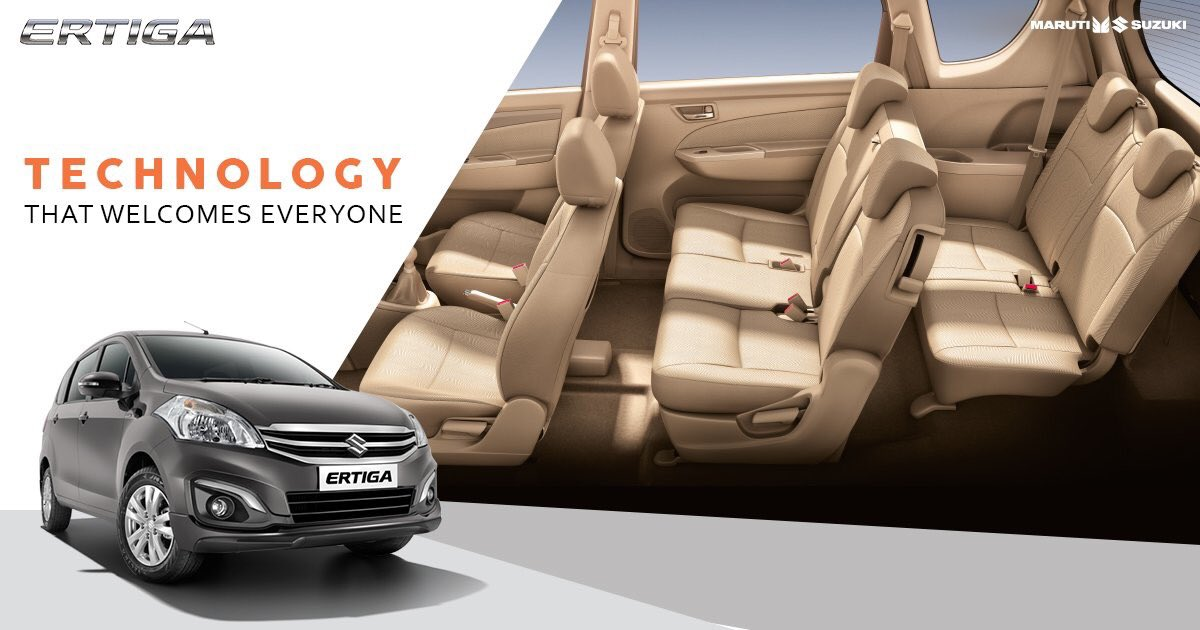 Journeys are best enjoyed when you travel together. Effortlessly accommodate 7 people in your Maruti Suzuki Ertiga. #TogetherWithErtiga https://t.co/UftYi4mg4m