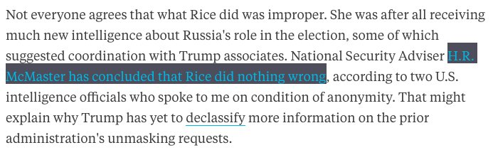 H.R. McMaster has concluded Susan Rice did nothing wrong on unmasking, @EliLake reports https://t.co/GmUi9nRPJD https://t.co/u5w5oiJwVw