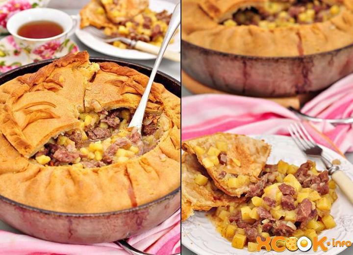 Пирог с мясом и капустой рецепт