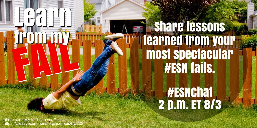 Today on #ESNchat we're talking about your biggest #esn fails. Bring your best stories! https://t.co/68ch8CJtyd