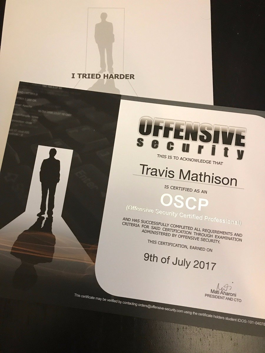 Travis Mathison On Twitter Offsectraining Hacking Oscp Came Out