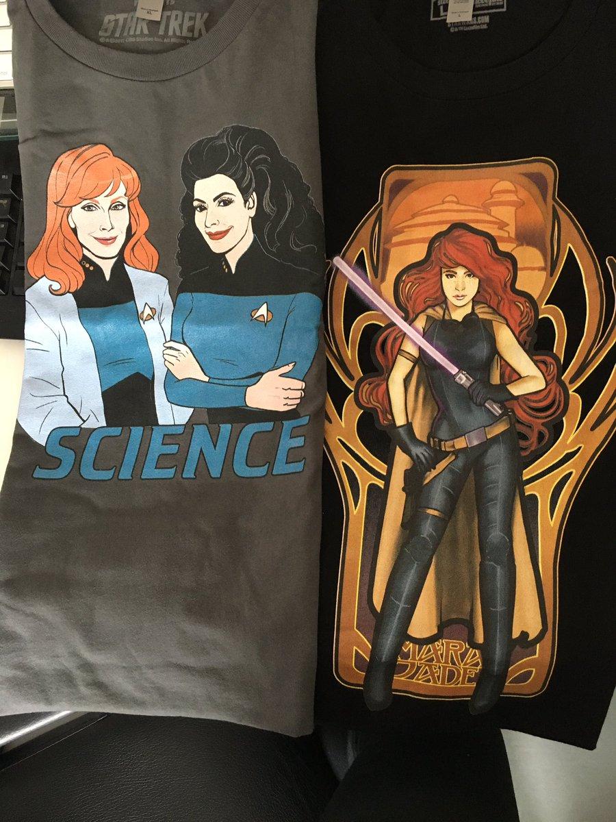 Love my new @welovefine shirts with @gates_mcfadden , @Marina_Sirtis and Mara Jade! https://t.co/rD4CeFC2JQ