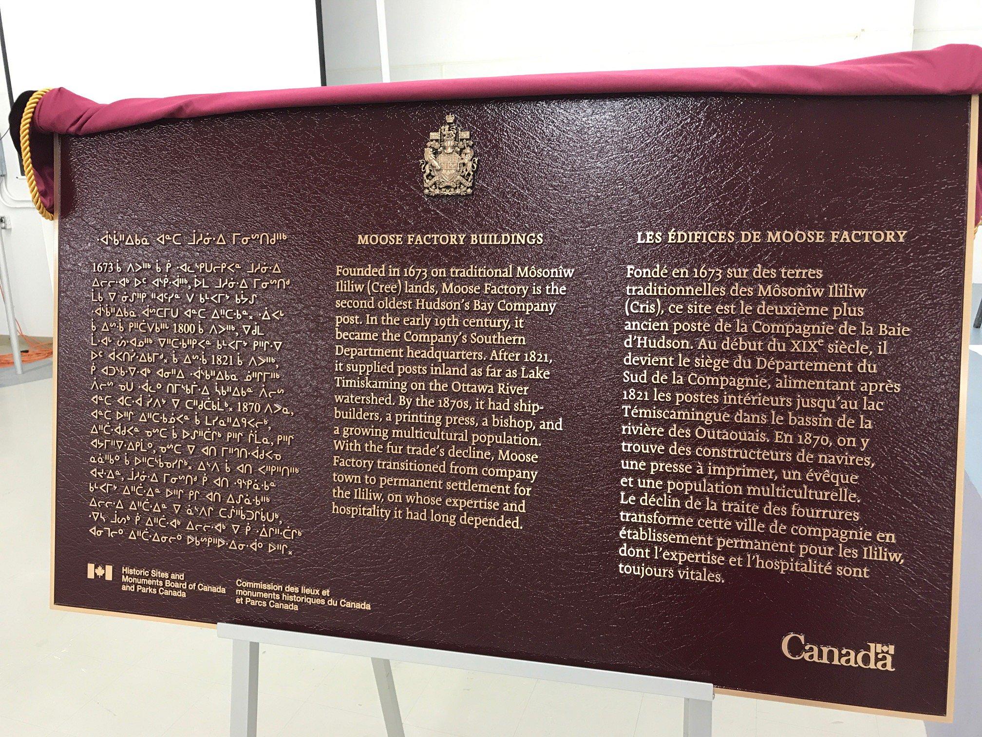 "OntarioHeritageTrust on Twitter: ""Today #HSMBC, @ParksCanada,  #MooseCreeFirstNation & theTrust unveiled a Nat. Hist. Site plaque to the  @HBCHeritage Staff ..."