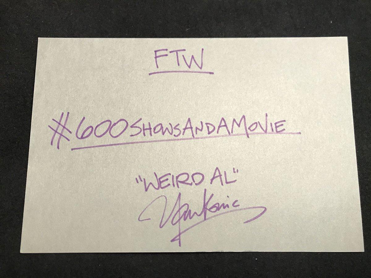 Final FTW entry - Weird Al Yankovic (@alyankovic) https://t.co/bUB0EW0...
