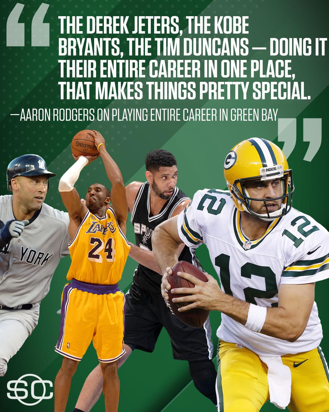 Aaron Rodgers knows exactly where he wants to be when he turns 40. https://t.co/KflwmwftqJ https://t.co/JnNGJUWsb4