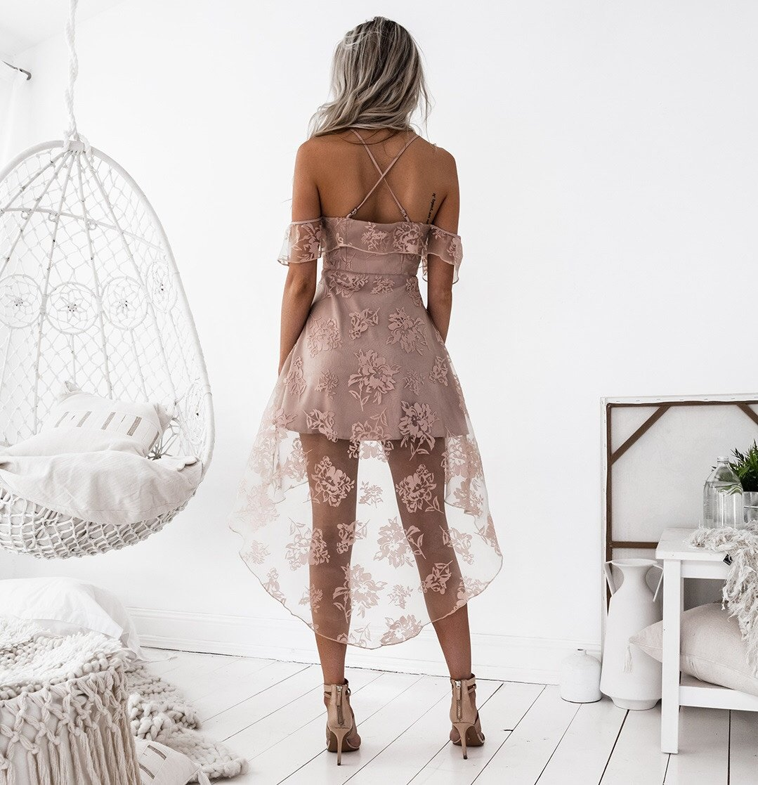 bb1b0663ef3 Hi-Lo Blush Lace Homecoming Dress