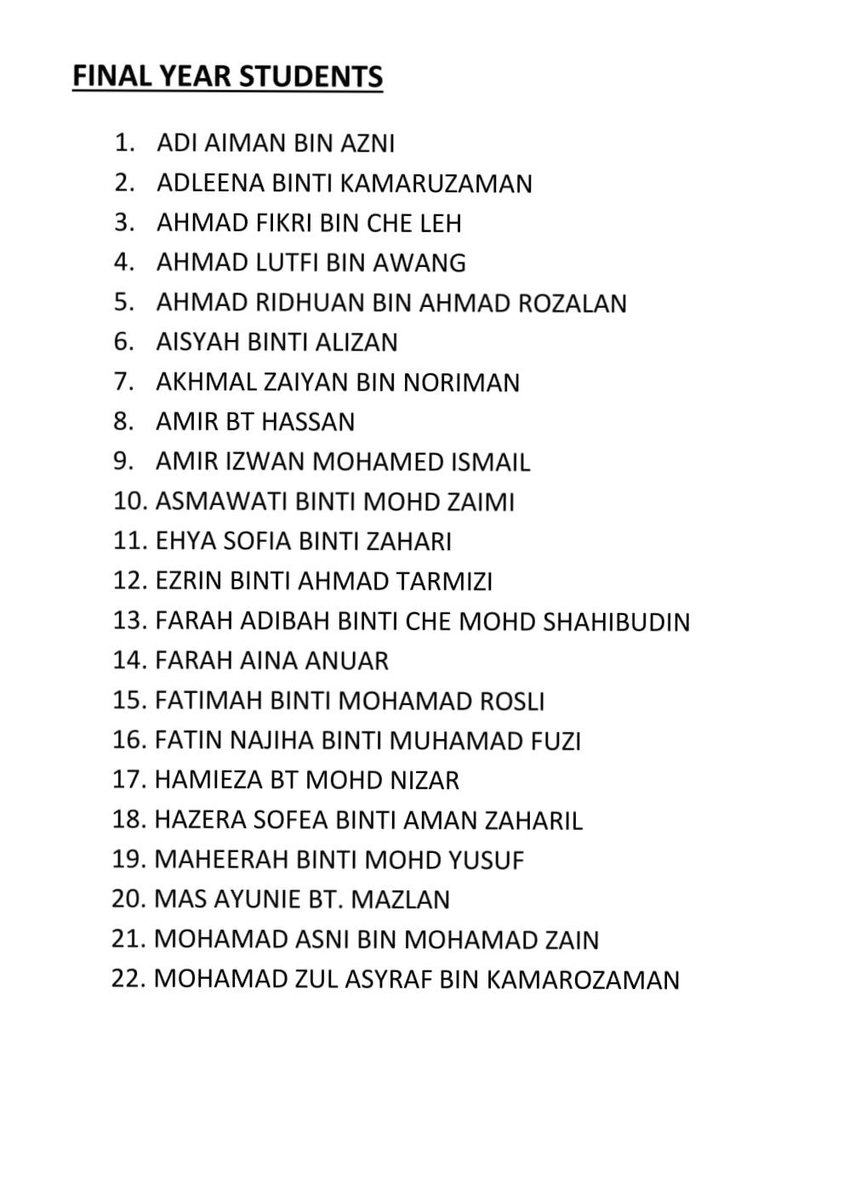 below is the name list for students whom compulsory to attend cv workshop by acca tomorrow 5th august httpstconcag47eccu - Acca Cv