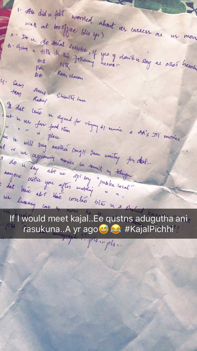 @MsKajalAggarwal These r few questions I wrote to ask u kaj... A yr ago..when u was at live chat for d first tym in twitter #Askkajal <br>http://pic.twitter.com/PaCHfxhIb1