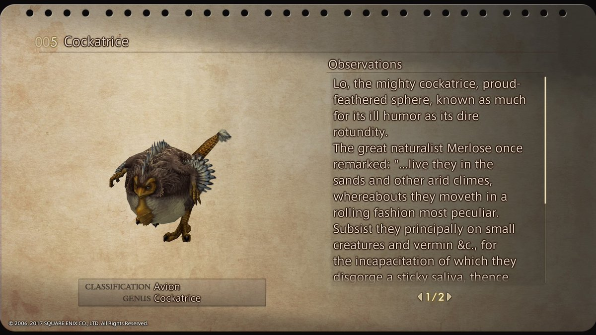 The Final Fantasy XII Bestiary is one of the best I've seen
