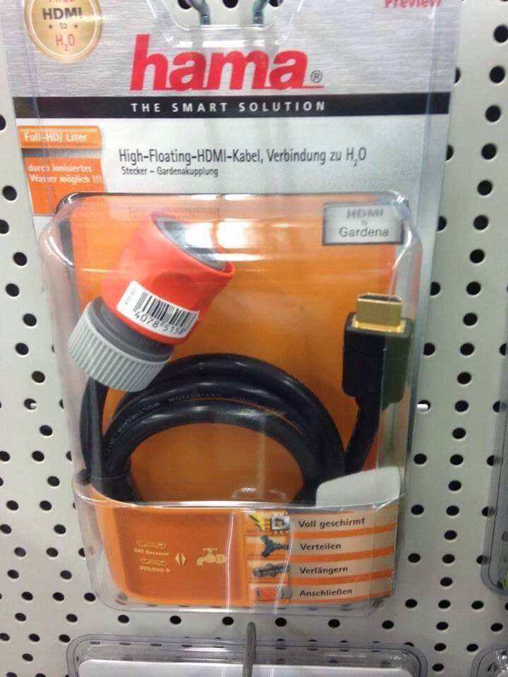 HDMI to water adapter, for those days when you want to plug a hose into your TV. https://t.co/2HzoCmhVSB