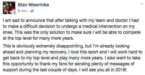 Stanislas Wawrinka pone fin a la temporada 2017 por lesión