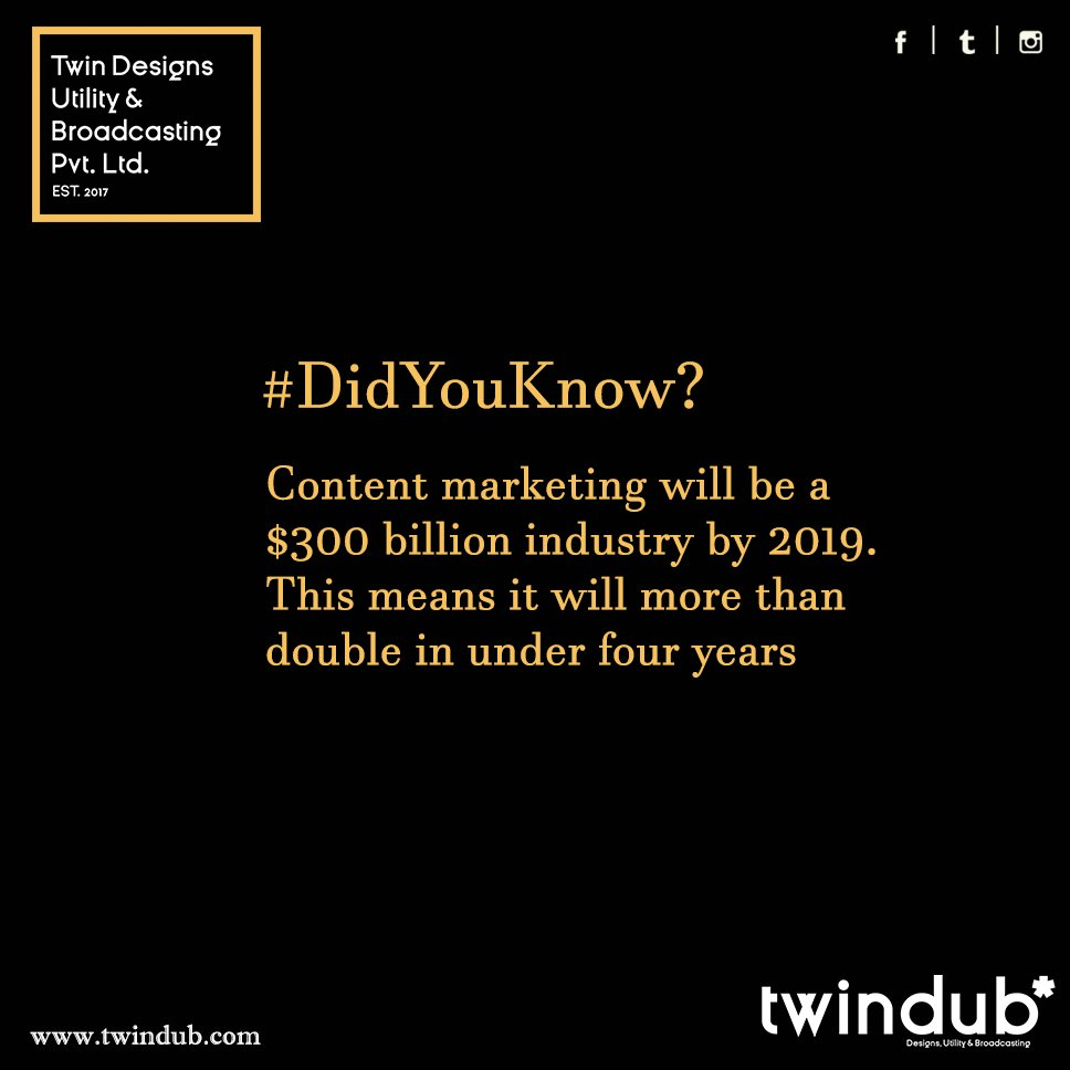 #ContentMarketing industry will more than double by #2019 #FridayFacts #content #contentwriting #twindub #onlinevisibility<br>http://pic.twitter.com/iHcHaiIRNu
