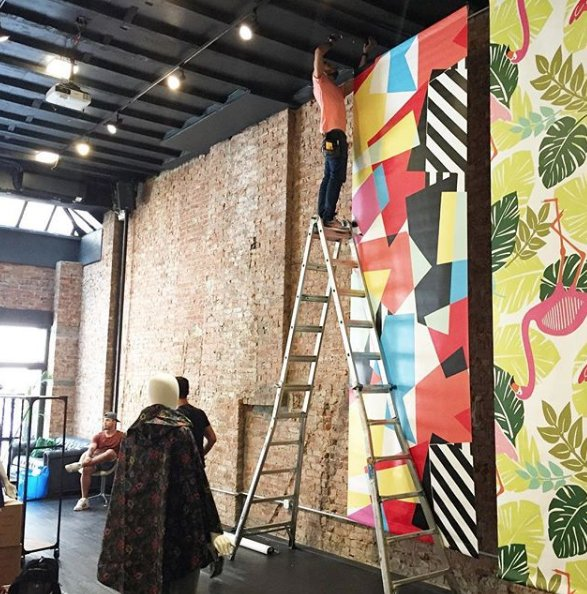 Behind the scenes, decorating a loft in midtown for #NewYorkMarketWeek! Can't reveal the client just yet! #experientialmarketing #marketweek