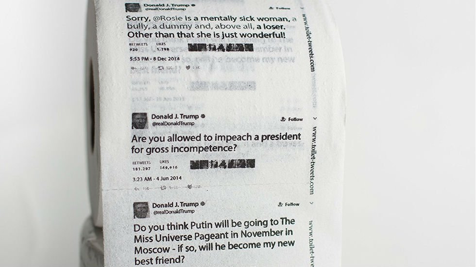 Amazon selling toilet paper printed with Trump tweets https://t.co/jTN9e4TQ9I