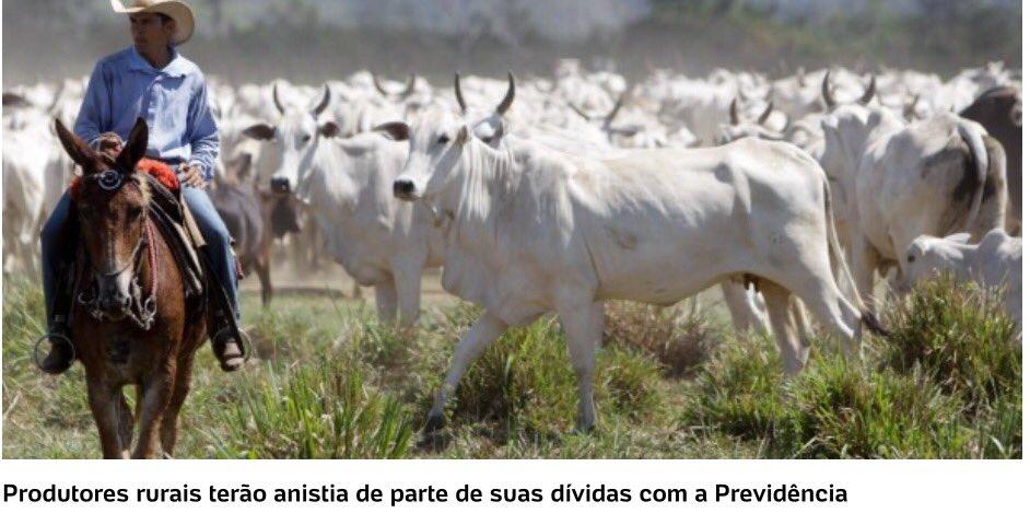 'Perdoada dívida de 8 bi dos ruralistas à Previdência'. Boi é melhor q aposentado!