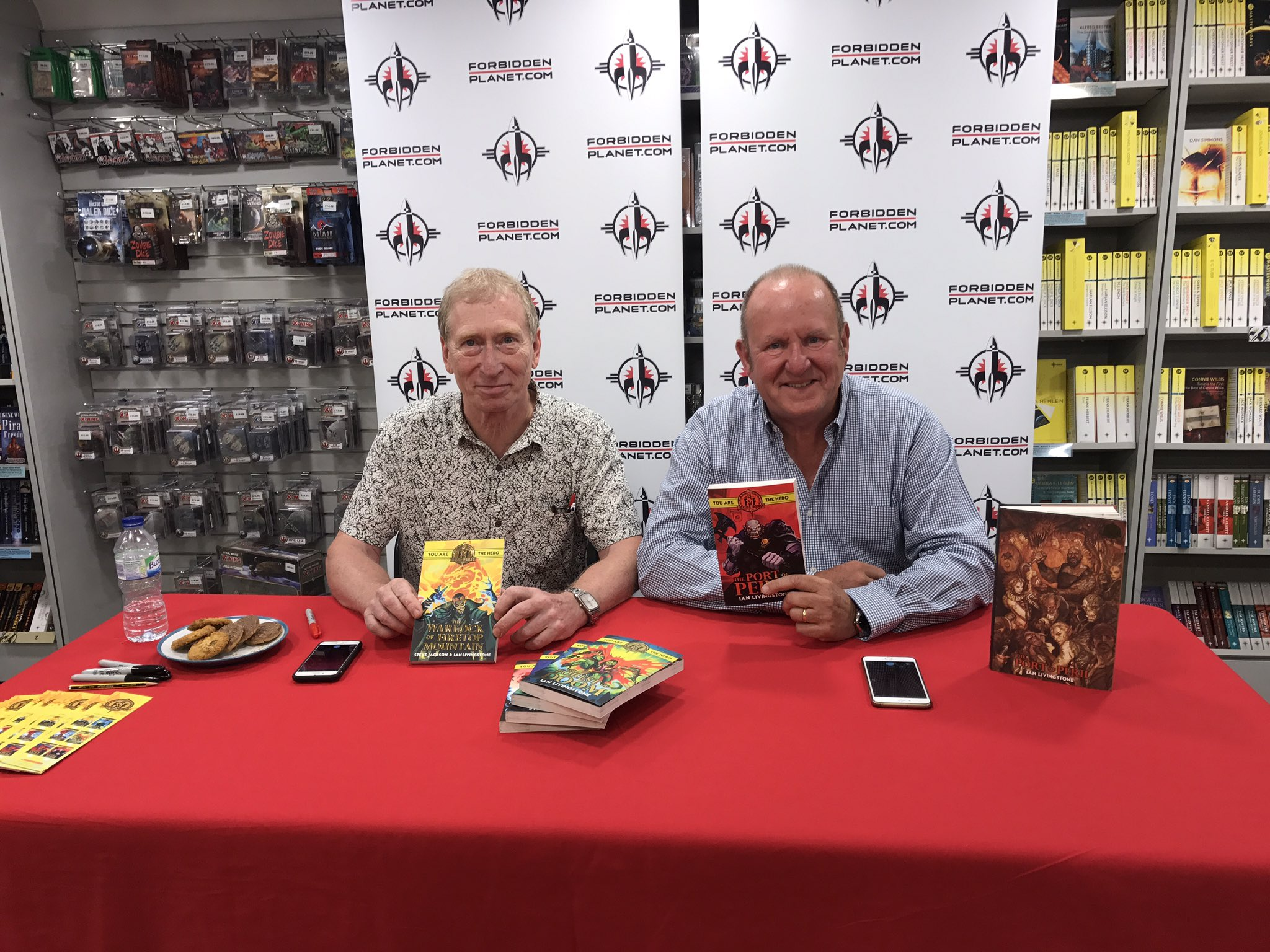 Ian Livingstone and Steve Jackson at Forbidden Planet