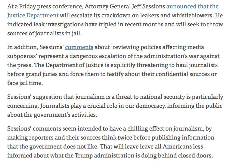 Our statement on Jeff Sessions' disturbing press conference announcing a crackdown on leaks and journalism  https://t.co/4gEkZ4S1JN