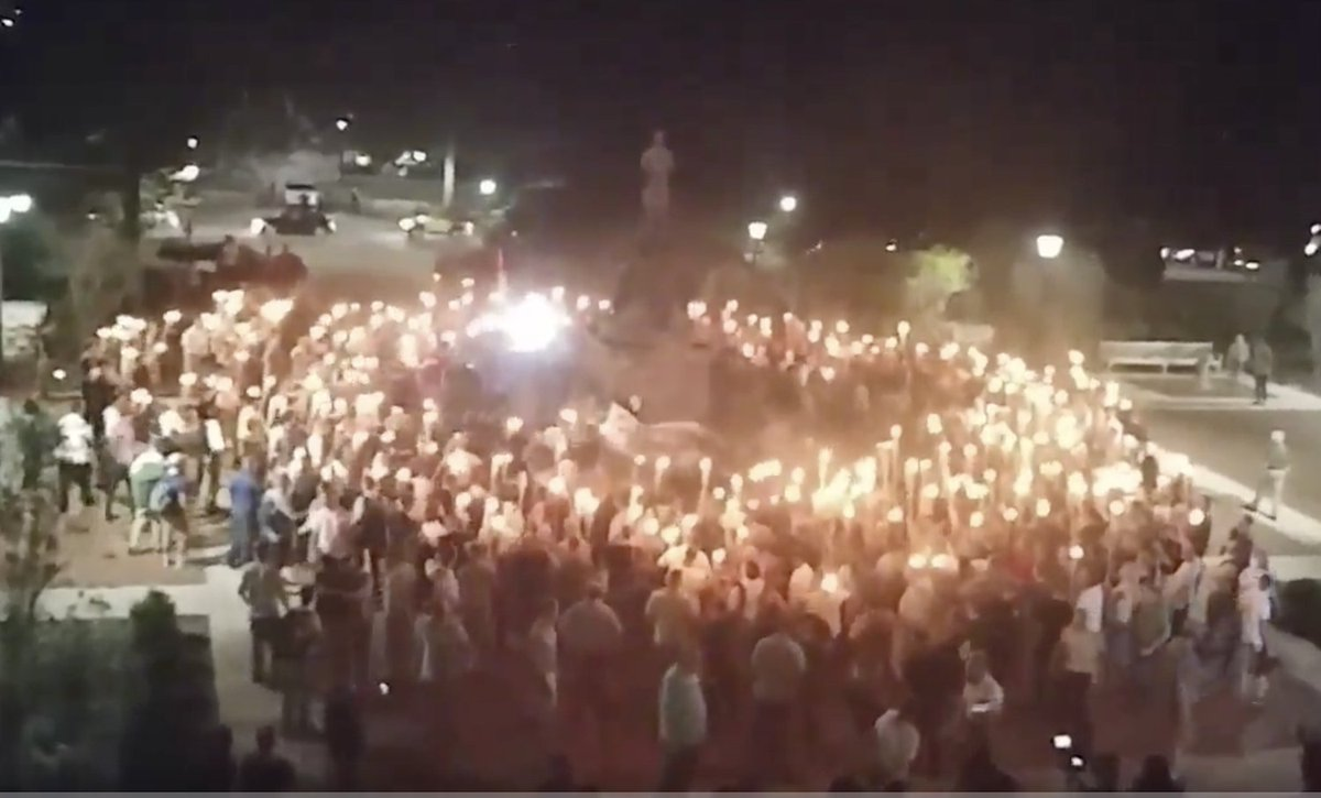 Chanting 'blood and soil!' white nationalists with torches march on University of Virginia