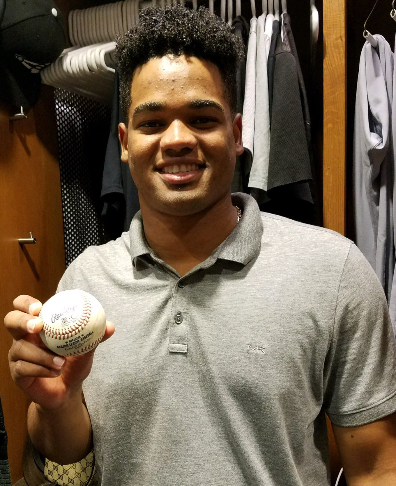 The baseball from his first strikeout in a White Sox uniform. Congrats, Reynaldo! https://t.co/LGpbzGqqWq