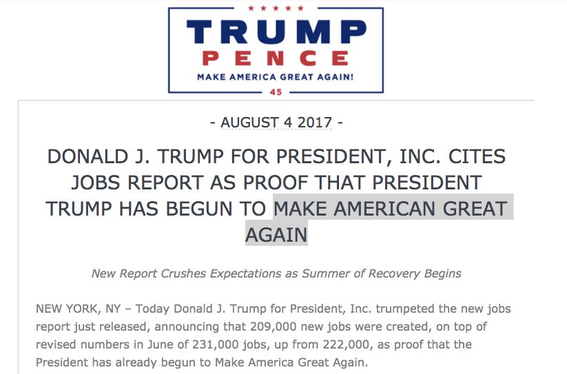 """The Trump campaign actually mis-typed """"Make America Great Again"""" in their latest press release. https://t.co/jCv7xmNbdP"""