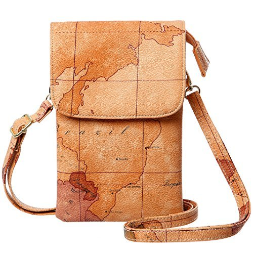 MINICAT World Map Series Synthetic Leather Small Crossbody Cell Phone Purse...