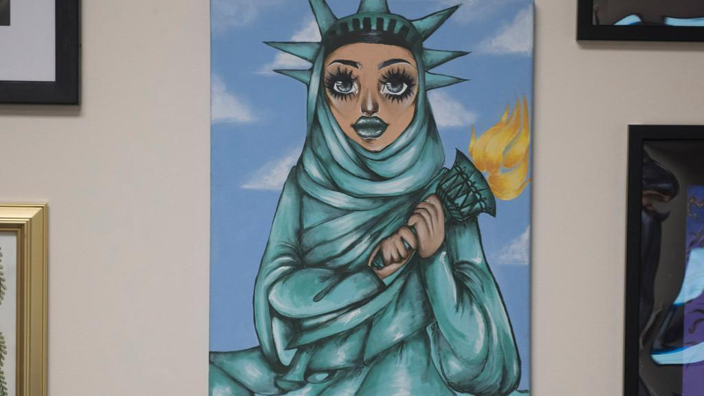 Image result for Painting of Statue of Liberty as Muslim woman in Democratic congressman's office stirs controversy