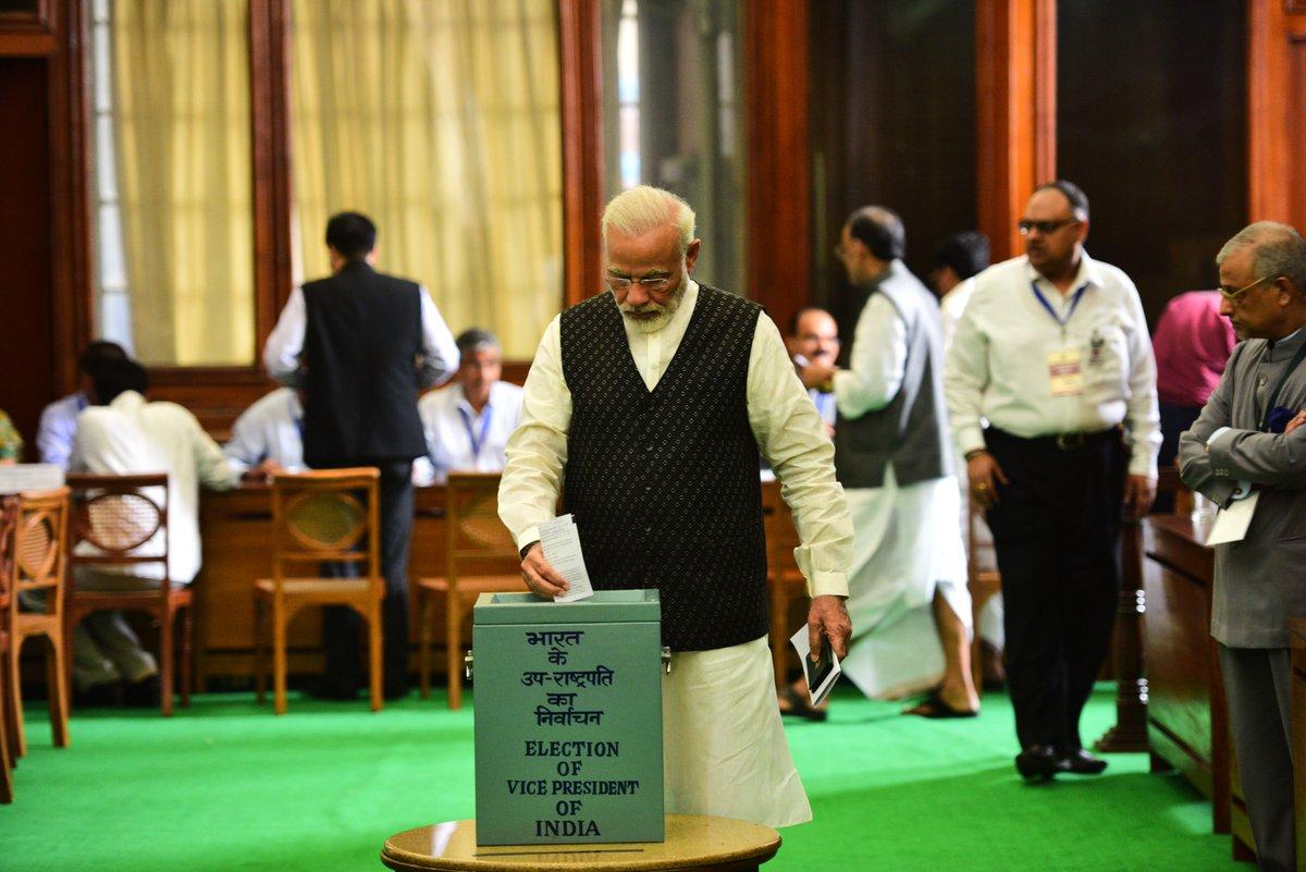 PM @narendramodi voted in the Vice Presidential election 2017 this morning.