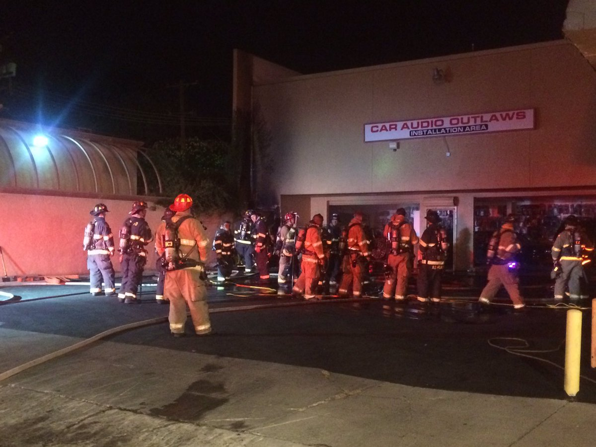 Fire at Car Audio Outlaws on McHenry Avenue.