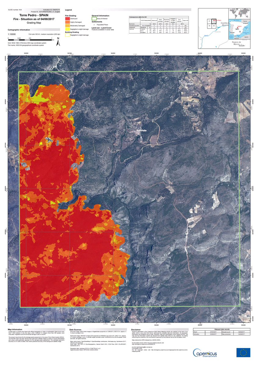 Map Of Fires In Spain 2017.Copernicus Ems In Fire
