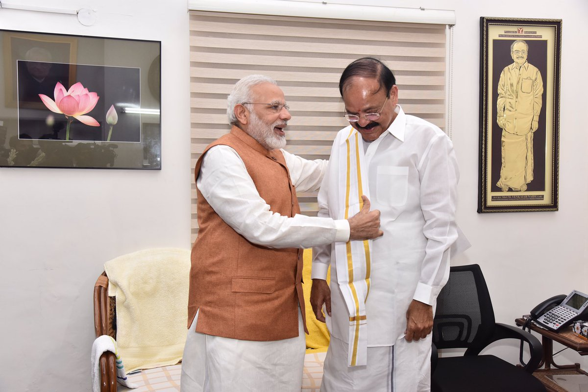 Met @MVenkaiahNaidu Garu and congratulated him on his impressive victory in the Vice Presidential elections.
