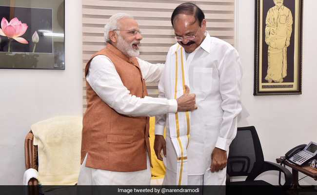 Met @MVenkaiahNaidu Garu and congratulated him on his impressive victory in the #VicePresidentialElections, tweets PM @narendramodi