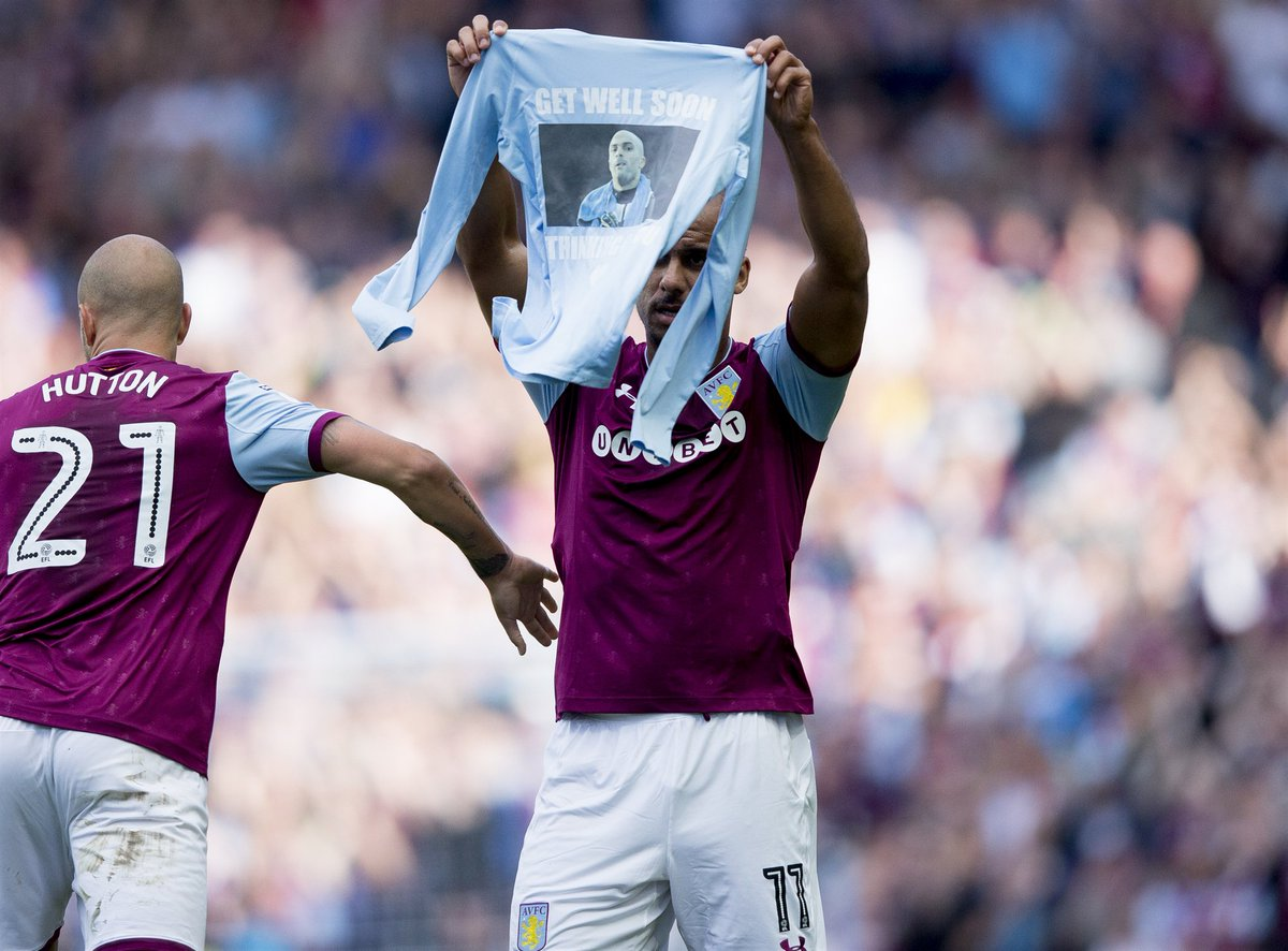 Touch of class from Gabby Agbonlahor as he wishes @Carl_Ikeme well in his fight against leukaemia 👌👏  #PartOfThePride #AVFC