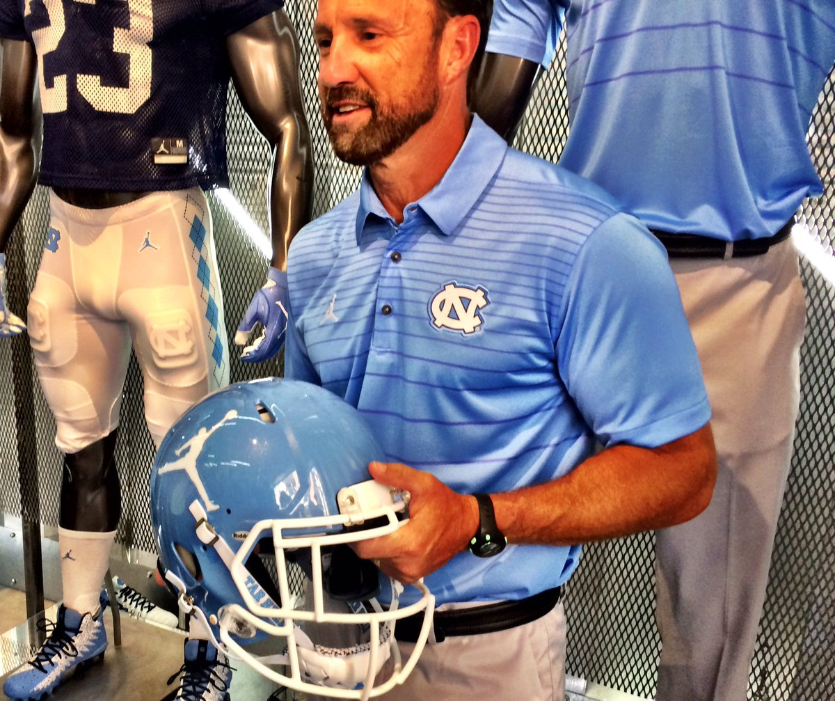 UNC's practice helmet will feature the Jump Man logo, as well. Here's Larry Fedora holding said practice helmet ... https://t.co/FhNftKC8tr