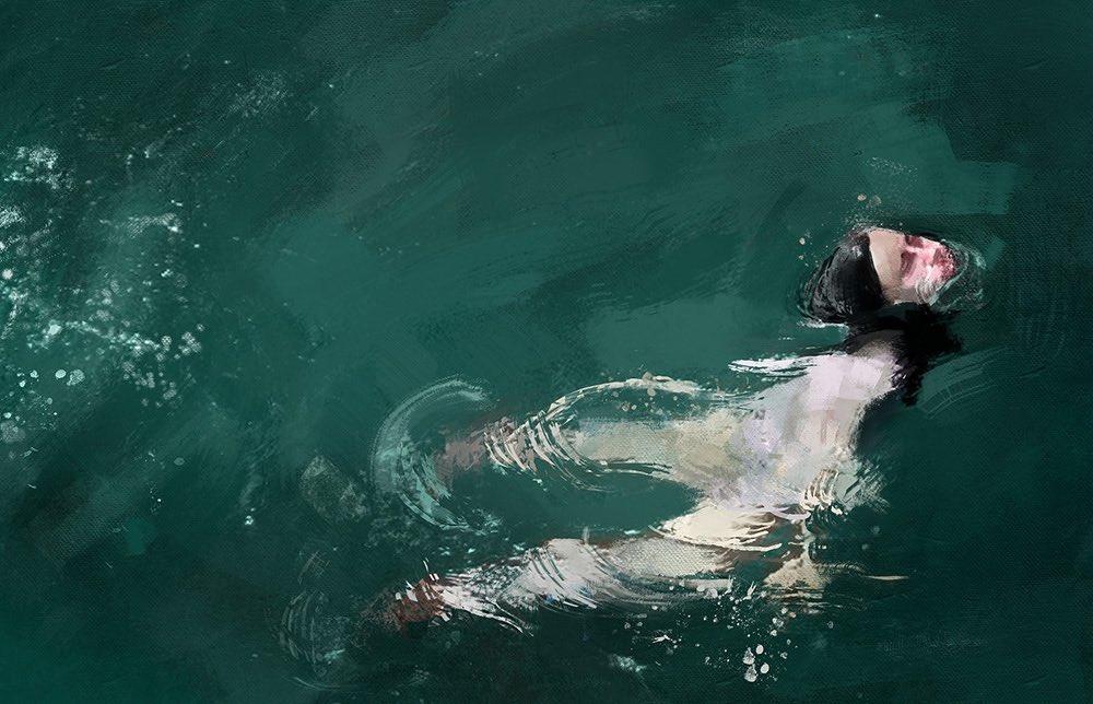 《Pedro Covo》コロンビアのアーティスト。印象派画家のような手の動きやリズムを伝える筆触、常に変化し続ける水面の揺らぎの質感や反射する光の推移を的確に捉える眼力。臨場感を一切損なわずに画面に定着させた大胆な簡素化によるディフォルメ 清涼感溢れる作品。瑞々しい。 pic.twitter.com/WBQE6vn2kN