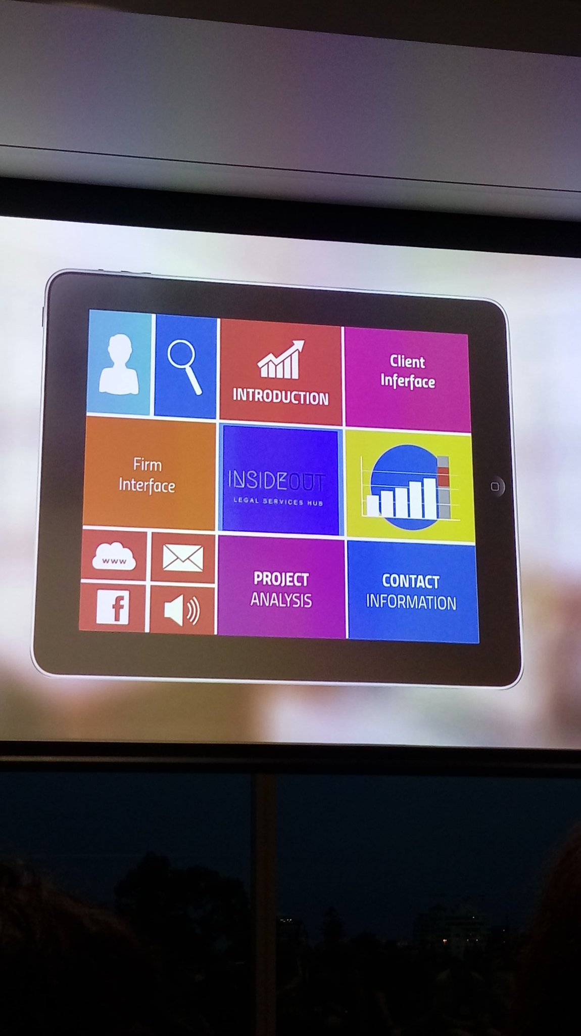 #Insideout at #disruptinglaw the new form of project management with a client interface https://t.co/TUr3fUgaDj