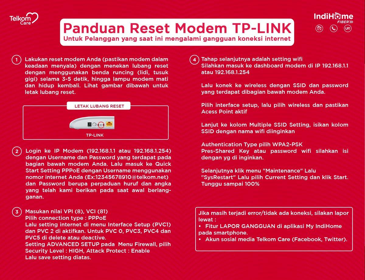 Telkom Care On Twitter Ikuti Panduan Di Bawah Ini Untuk Melakukan Reset Modem Tp Link Milik Sobat Khusus Pelanggan Yang Mengalami Gangguan Internet Https T Co Evlwcws1aw
