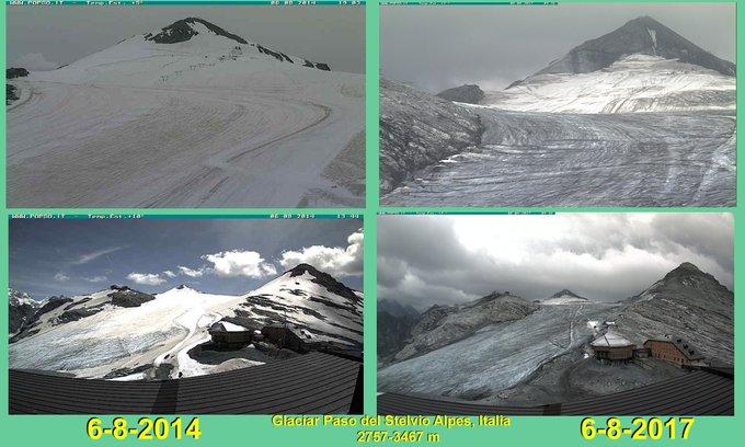 Hace 3 años y hoy el #Glaciar del Paso del #Stelvio (2757-3467 m) #CambioClimatico @Meteoralia @RAM_meteo @RemaMeteo @infonieve @nevasport
